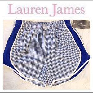 Royal blue and white gingham shorts